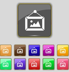 Picture icon sign set with eleven colored buttons vector