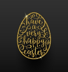 Easter greeting card - easter glitter gold egg vector image