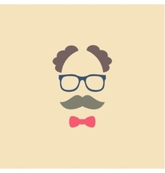 Elderly man in glasses with a mustache and bow tie vector