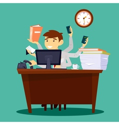 Multitasking businessman man at work in office vector