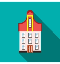 A three-story building icon flat style vector image