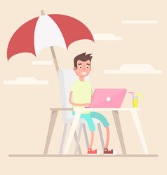 an employee in the summer works under an umbrella vector image vector image