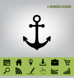Anchor icon black icon at gray background vector