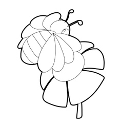 Bee on flower icon isometric 3d style vector