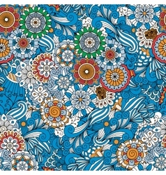 Blue full frame floral seamless background vector image