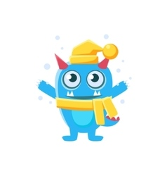 Blue Monster With Horns And Spiky Tail Wearing Hat vector image vector image