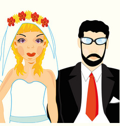Bridegroom and bride vector