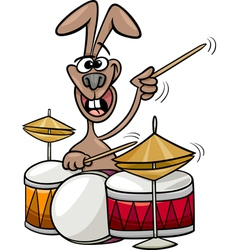 Bunny playing drums cartoon vector