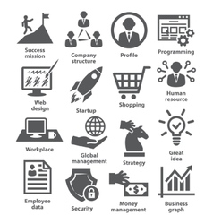Business management icons Pack 29 vector image