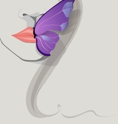 Butterfly on lips vector