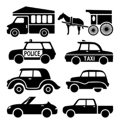 car icons set black auto pictogram collection vector image