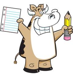 Cartoon Cow Student vector image vector image