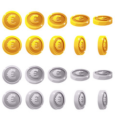 Cartoon set of 3d metallic coins animation vector