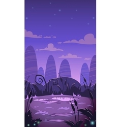 Cartoon vertical night landscape vector image vector image