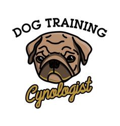 color vintage cynologist emblem vector image vector image
