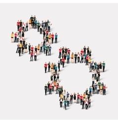 crowd people form gear vector image vector image