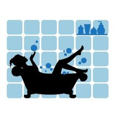 Female silhouette in the bathroom vector