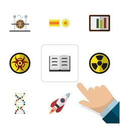 Flat icon study set of chemical spaceship vector