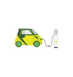 Green electric car recharging at charging station vector