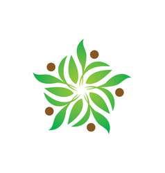 Green leaf decoration ecology logo vector