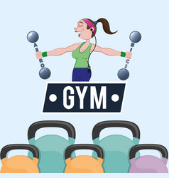 Gym woman trainer dumbbell poster vector