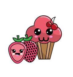 Kawaii cherry cup cake and strawberry icon with vector