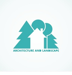 logo house with trees vector image vector image