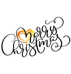 merry christmas holiday text with gold heart hand vector image