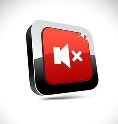 Mute 3d square button vector