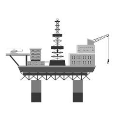 Oil rig at sea icon gray monochrome style vector