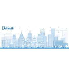 Outline detroit skyline with blue buildings vector