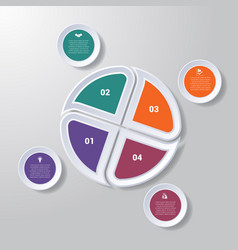 Pie chart or area chart diagram infographics four vector