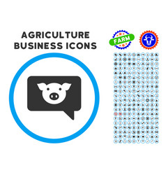 Pig message rounded icon with set vector