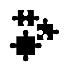Puzzle pieces work marketing silhouette vector