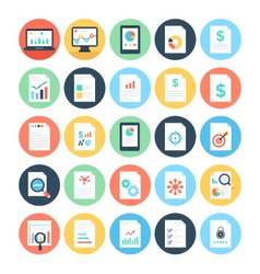 Reports and Analytics Colored Icons 3 vector image