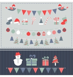 Retro christmas elements set vector