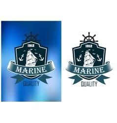 Retro marine heraldic banner vector
