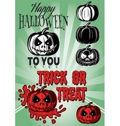 set of pumpkins with inscriptions for Halloween vector image vector image