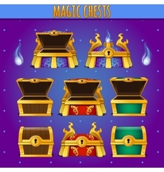 set of wooden chests different colors vector image vector image