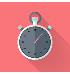 Stopwatch flat icon over pink vector image vector image