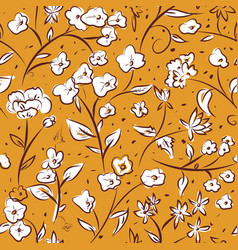 tiny spring flowers doodle drawing pattern vector image