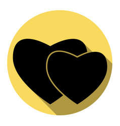 two hearts sign flat black icon with flat vector image