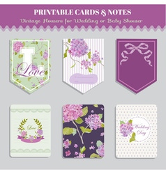 Vintage flowers card set - for party design vector