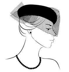 Woman in hat with veil vector image vector image