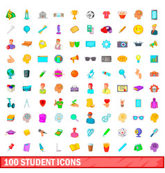 100 student icons set cartoon style vector image