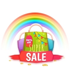 Big sale banner with color packet and confetti vector