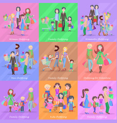 set of different kinds of shopping in stores vector image