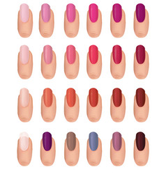 Nail polish in different fashion colors nail care vector