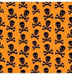Orange background with skulls vector image