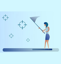 Abstract business woman catch targets with vector